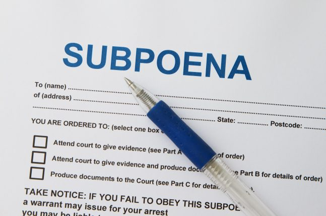 Receiving a Court Subpoena
