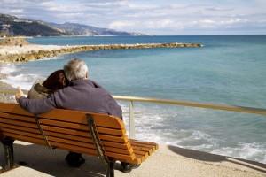 Couple on seaside bench