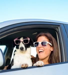 Girl and dog on holiday in SA
