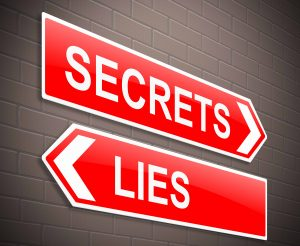Illustration depicting a sign with a secrets and lies concept.