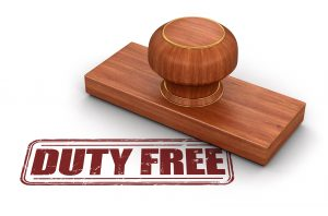 Wooden stamp 'Duty Free'