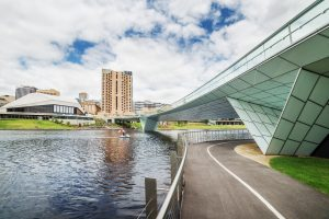 Adelaide downtown view from river Torrens